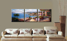 Framed 3 Panel Huge Mediterranean Oil Painting on Canvas Interior Decoration 3 Piece Wall Art Seascape Picture A1072