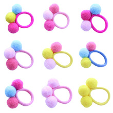 Baby Girl Autumn Winter Models of three Wool Plush Ball Hair Circle Girls Hairline 12 Colors(China)