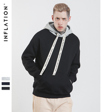 INFLATION 2017 Man Contrast Color Drop-shoulder Hoodies Sweatshirts Hip Hop Streetwear Fashion Men Hoodie Sweatshirt 163W17(China)