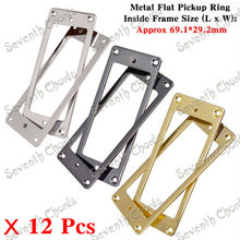 12 Pcs 3 Colors Mini Style Electric Guitar Flat Base Metal Pickup Humbucker Ring / Mounting Inside Frame Size:69mm x 29mm(China)