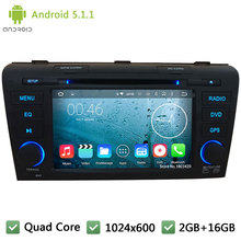 Quad Core 16GB Android 5.1.1 7INCH HD 1024*600 2DIN DAB+ WIFI 3G FM Car DVD Player Radio Audio PC Stereo For MAZDA 3 2004-2009
