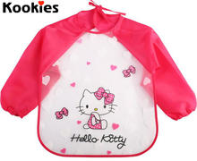 Baby Long Sleeves Waterproof Feeding Bibs Art Smock Aprons Children Cartoon Burp Cloths Baby Bibs