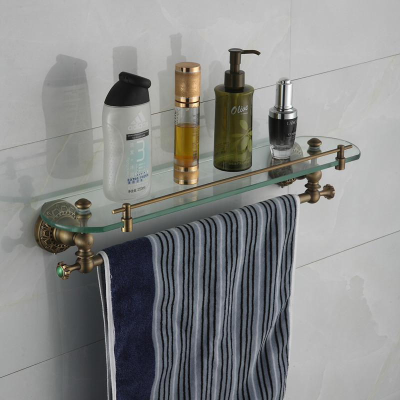 Bathroom antique green stone brass shower holder bathroom cosmetic shelf basket for square basket for bathroom holder<br>