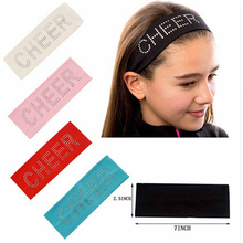 2.5 INCH Wide Fabric Headband For Kids Girl Print Rhinestone CHEER Stretch Hair Band Casual Turban Accessories(China)
