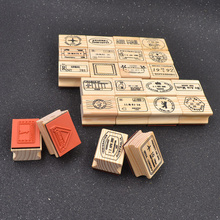 She Love 1 Set 6pcs Retro Vintage Cute Cartoon Wooden Rubber Stamp Set DIY Diary Scrapbooking Decoration Craft(China)