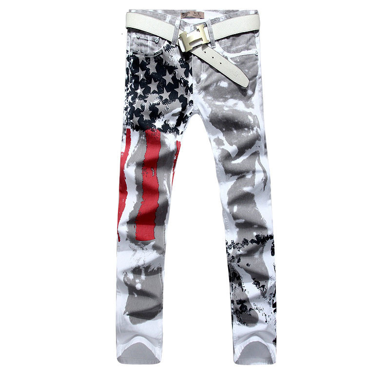 2017 Fashion American Flag Painted Jeans Brand Jeans Men Straight Mens Casual Pants Mens Denim Trousers Micro-bomb SIZE 48Одежда и ак�е��уары<br><br><br>Aliexpress