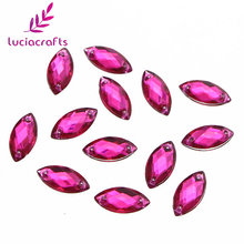 Lucia Crafts 7*15mm Flatback Sew On Rhinestone Crystal Acrylic Stones Two Holes Beads DIY For Garment/Bags 50pcs/lot 003018011(China)