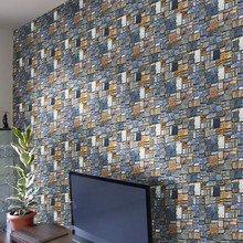 Creative 3D Wall Paper Brick Stone kitchen wall stickers Rustic Effect Self-adhesive Wall Sticker Home Decor kitchen decoration#(China)