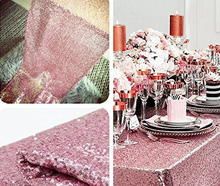 120x200cm Pink Gold Sequin Tablecloth Rectangle Wedding Table Cloth for Home Mesh Lace Sequin Table Cover Rectangular 12 Colors(China)