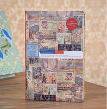 Letters/Collage Picture Hardcover Travel Journal with Colored Illustration Page Blank Lined Grid Notebook w/ Bookmarker 196 Page