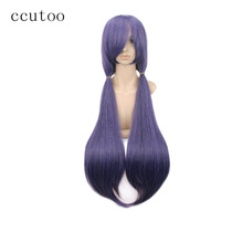 "ccutoo 32"" Purple Black Mix Long Straight Styled Synthetic Hair Perrque Oblique Fringe Cosplay Wigs Heat Resistance Fiber(China)"