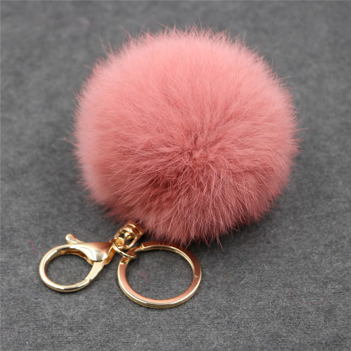 8CM Fluffy Pompom Real Rabbit Fur Ball Key Chain Women Trinket Pompon Hare Fur Toy keyring Bag Charms Ring Keychain Wedding Gift (22)