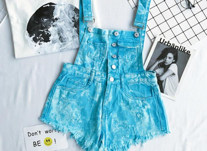 New Collection Summer Korean Loose Women Denim Jumpsuit High-waisted Ripped Hole Wavy Edge Jumpsuit Fashionable Suspenders Pants11