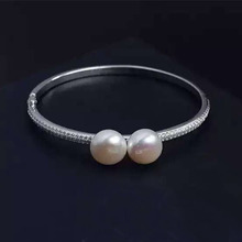 Designer Fashion 925 Sterling Silver Jewelry 3A Cubic Zirconia Party Pearl Bangle