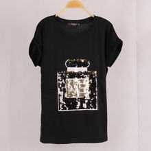 Free Shipping Summer Women Perfume Bottle Sequined T shirt Blusas Casual Short Bat Sleeve Stretch Plus Size T-shirt Tops Women
