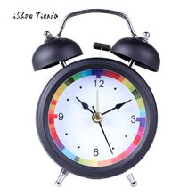New Fashion Color appearance Clock Classic Simple Metal Shell Two-Way Bell Alarm Clock Home Decoration Home Bedroom Desk Decor(China)