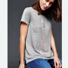 Ladies' fashion iron tower printed gray blouse letter embroidery shirt 2017 Summer women casual short sleeve tops#R037(China)