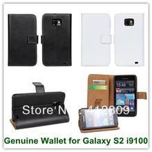 Genuine Leather Folio Wallet Case for Samsung Galaxy SII Leather Pouch for Galaxy S2 i9100 Free Shipping(China)