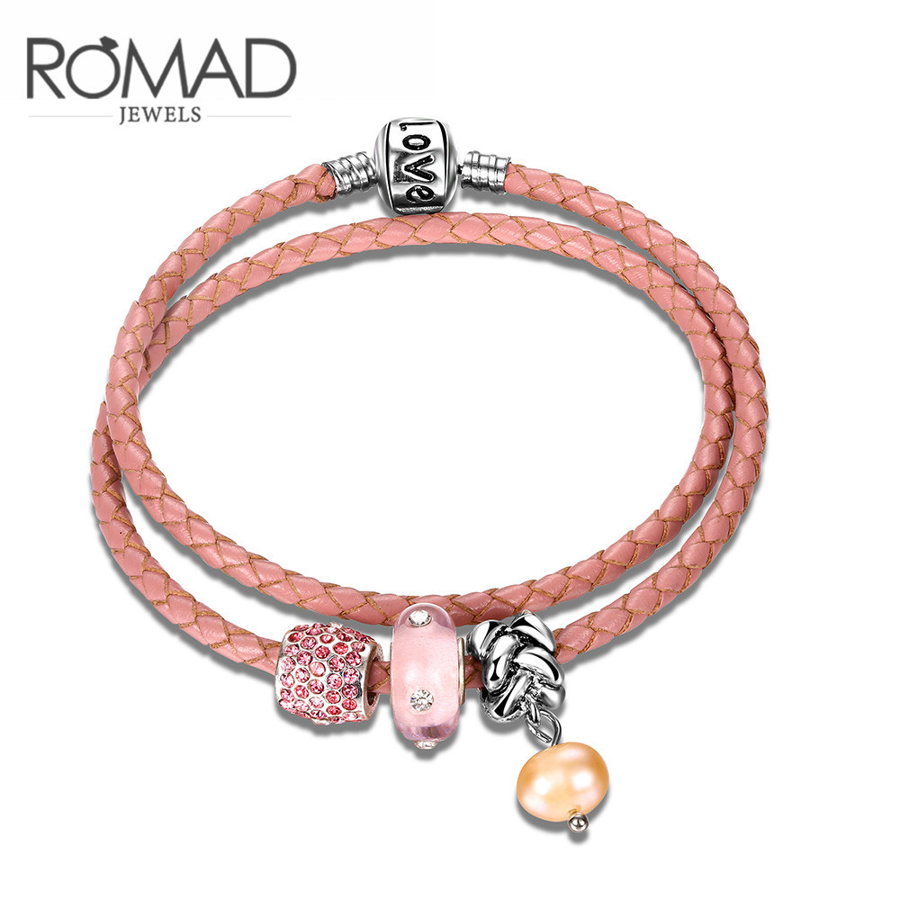 Explosion Mike Carnell Pink Glass beads Leather Bracelet for Women Vintage Jewelry Romantic Holiday & Birthday Gift Romad Band(China (Mainland))