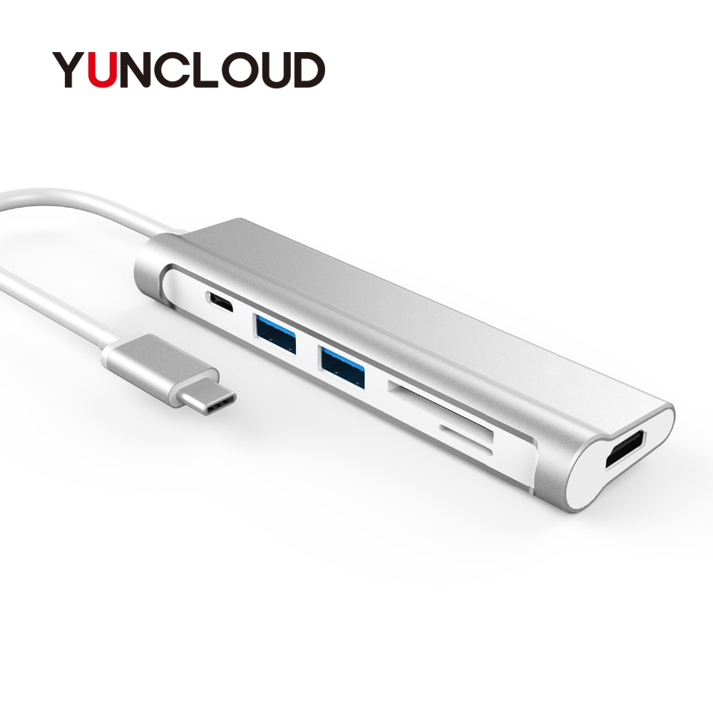 YUNCLOUD Laptop Docking Stations PD Charging 4K HDMI USB 3.0 Docking For MacBook Samsung Galaxy S9/S8 Huawei P20 Pro