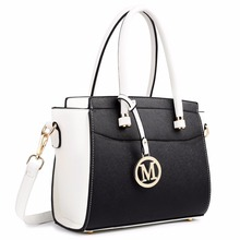 Miss Lulu White Black Women Classic M Leather Handbag Shoulder Tote Cross Body Bags Bags GirlsSatchel Top-handle Bags LT1625