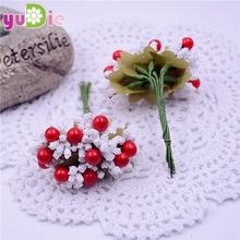 100PCS/lot Mulberry party And cherry Artificial Flower Stamen wire stem/marriage leaves stamen wedding box decoration