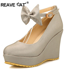 REAVE CAT Big size 30-50 Shoes woman Wedges High heels platform Buckle Spring shoes for ladies Casual Sweet 4 Color Sale QL5084(China)