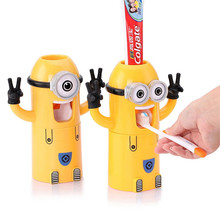 Home Cute Cartoon Design Bath Products Yellow Minions Set Toothbrush Holder Toothpaste Automatic Toothpaste Dispenser