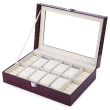 Red Fashion 8 Grids with 4 Mixed Grids PU Leather Watch Case Box Jewelry Storage Display Box