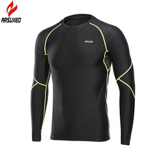 ARSUXEO Winter Thermal Fleece Long Sleeve Men's Running T-shirts Soccer Football Jerseys Sport Shirt Men Gym Fitness Clothing