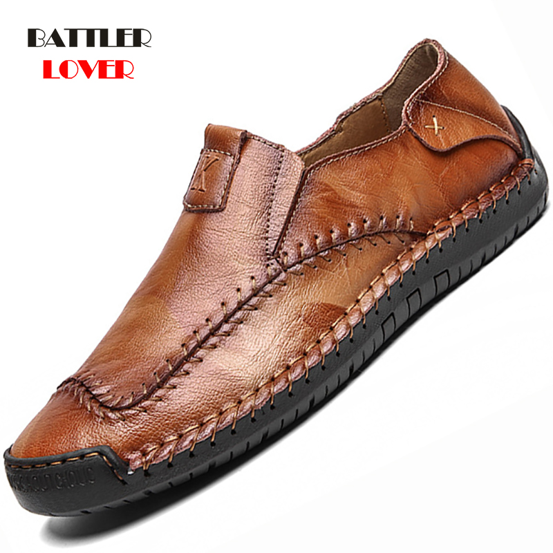 Classic Comfortable Mens Casual Shoes Loafers Men Shoes Quality Genuine Leather Shoes Men Flats Moccasins Shoes Plus Size 38-48