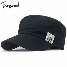 [TIMESWOOD] New Cotton Military Caps Sun-shading Flat Top Army Camp Cool Classic Men Women Hat Adjustable Star Trucker Hats