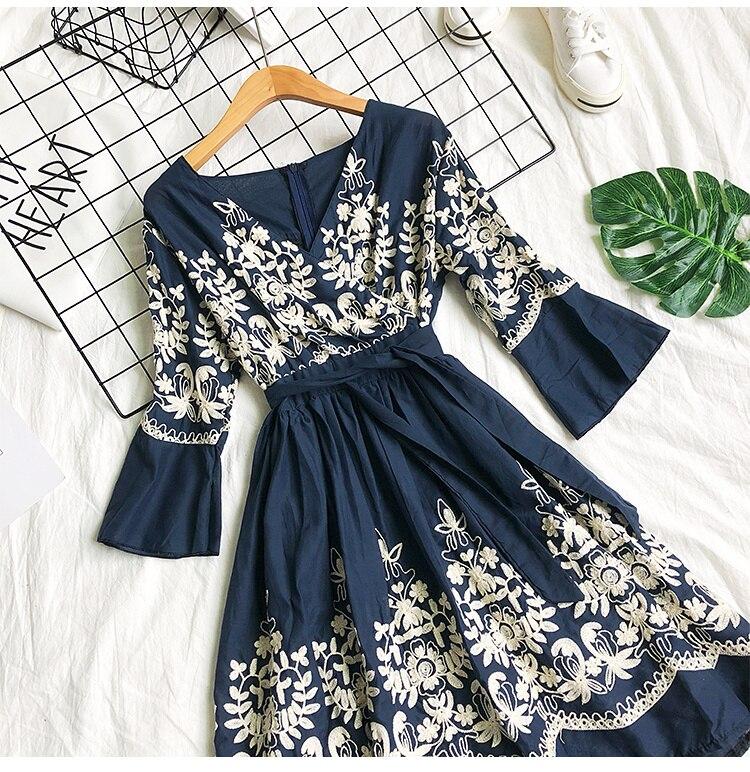 2019 Spring Summer V-neck Embroidery Dress Flare Sleeves Bohemian Dress Belted Ethnic Loose Vintage Dress 61