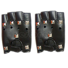Punk Rivet Leather Cowhide Fingerless Velcro Motorcycle Driving Mitten Hot Pop