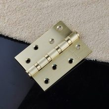 "1x Door Butt Hinges 4"" inch 4 Axises Brand Silencing Mute Yellow Bronze Brushed Stainless Steel Thicken 76.2x10.1x3mm Heavy Duty"