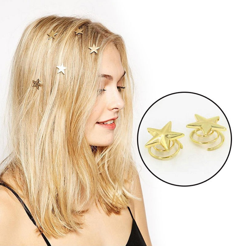 Hot sale 1PC Star Gold Hair Clips Delicate Swirl Hairpins Lovely Barrettes Women