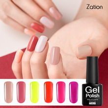 Zation Professional Lamp UV Lak Gel Nail Polish Glue Led Lucky Gel Nail Polish Color Soak Off Nail Primer Gel Varnish 29 Colors(China)