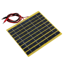 18V 5W Solar Panel Polycrystalline Silicon Solar Cell Solar Panel+Crocodile Clip Diy Solar System for Battery Charger