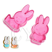 2Pcs Really Cute Rabbit Plunger Cookie Cake Mold Cutter Girls' Love Decoration DIY Cooking Baking Cake Tools