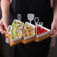 Food plates dinnerware christmas tree ceramic plate bamboo wood pad popular kitchen accessories snack tray(China)