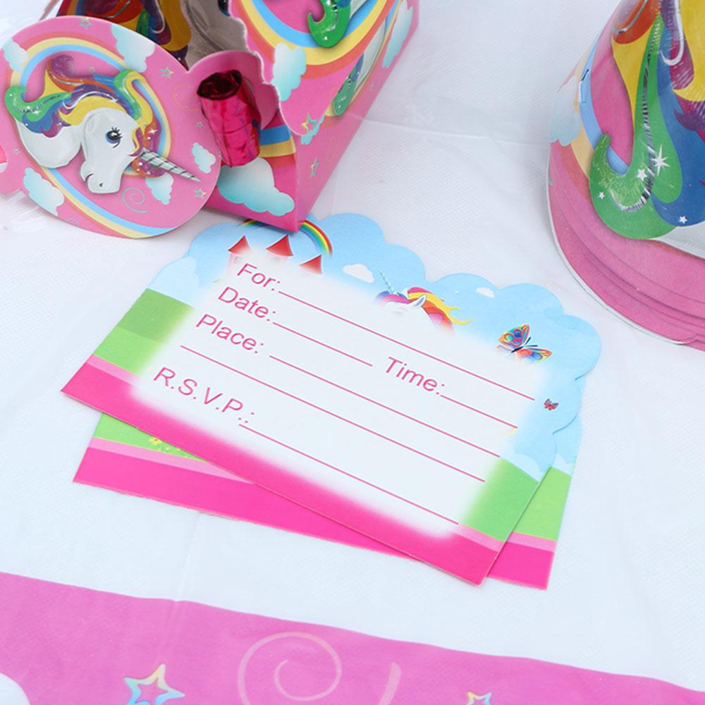 Unicorn Invitation Cards Theme Birthday Party Supplies For Wedding