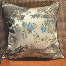 "High imitation silk embroidery pillow Chinese style ""Qingming River"" cushion waist pillow embroidery pillow cushion covers"