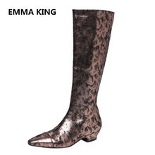 2019 Runway New Gold Metal Color Women Knee High Boots Square Toe Sexy  Ladies Winter Shoes Woman Leather Flat Long Knight Boots 45513cf1285d