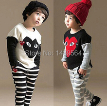 Boys girls clothing sets White Black Patchwork stripe Athletic Wear Kids clothes mouse pattern COttone sports suit Brand quality