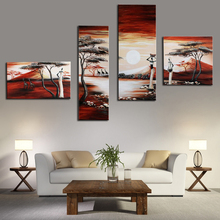 African Art Painting Modern Abstract African Women Painting on Canvas 4 Panel Oil Paintings Exquisite Gift Wall Pictures Unframe