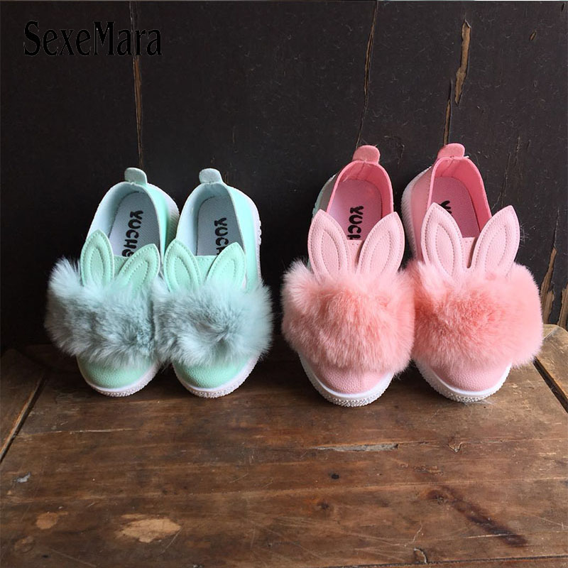 Toddler Bunny Girls Kids Infants Flats Low Heels Soft Anti-slip Single Shoes
