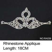 2017 New Limited Garment Ra039 Rhinestone Applique 3pcs/lot Crystal Clear And Silver Base Sew On Use For Wedding Dress Ornament