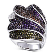 DreamCarnival 1989 Women's Punk Rings Big Overlapping Look Orange Green Purple Cubic Zircon Paved Black Gold-color Anillos Moda(China)