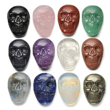 Brand New Hand Carved Skull Head Statue Figurine Energy Crystal Healing Gem stone Smooth Polished Flat Palm Worry Stone With Box