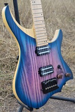 NK Headless Electric Guitar steinberger style Model Purple blue burst color maple Neck in stock free shipping(China)